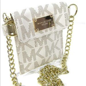 Michael Kors Signature Fanny Pack White and Gold p